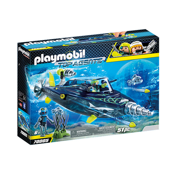 Echipa s.h.a.r.k. cu submarin playmobil top agents