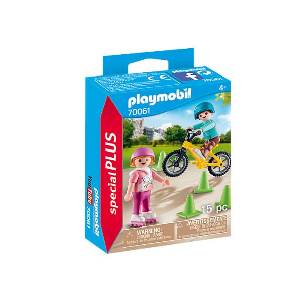 Figurina copii cu role si bicicleta playmobil