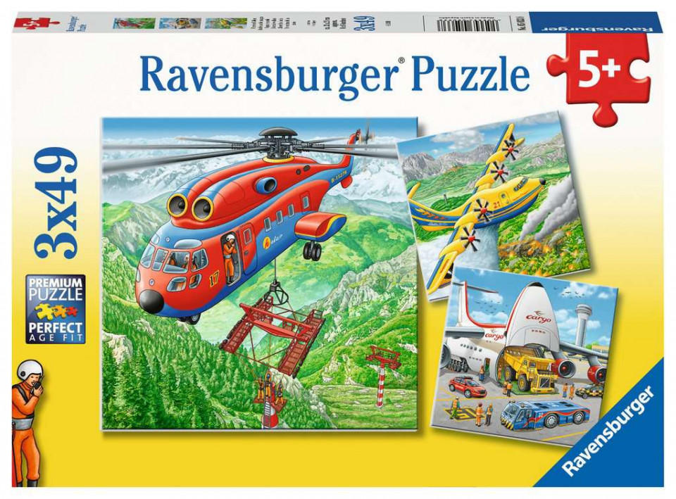 Puzzle avioane in zbor 3x49 piese ravensburger