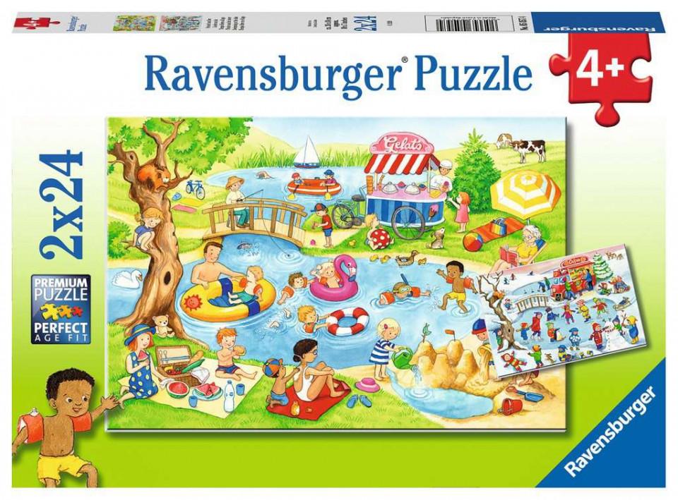 Puzzle distractie la lac 2x24 piese ravensburger