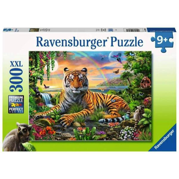 Puzzle tigru la rasarit 300 piese ravensburger imagine