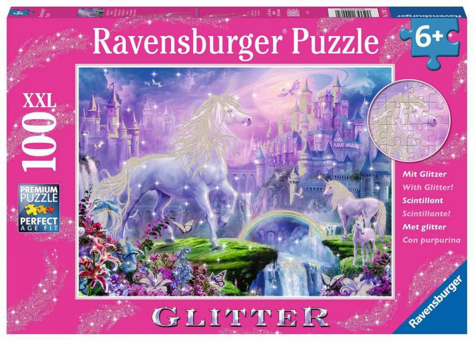 Puzzle unicorn cu sclipici 100 piese ravensburger