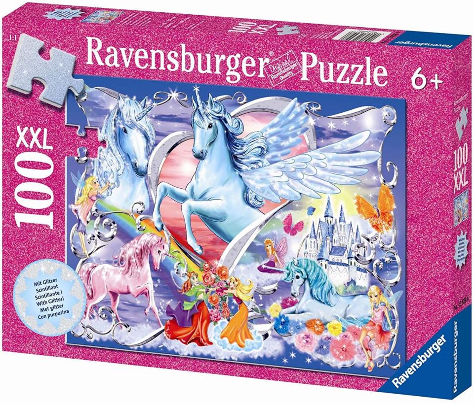 Puzzle unicorni cu sclipici 100 piese ravensburger