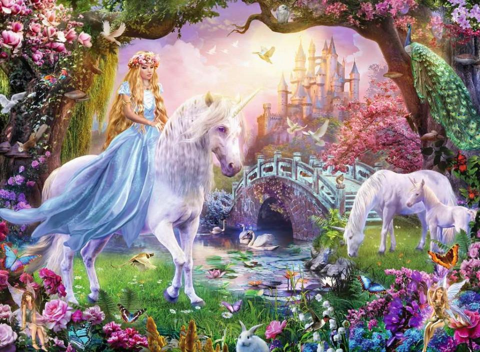 Puzzle zana si unicorn 100 piese ravensburger - 1