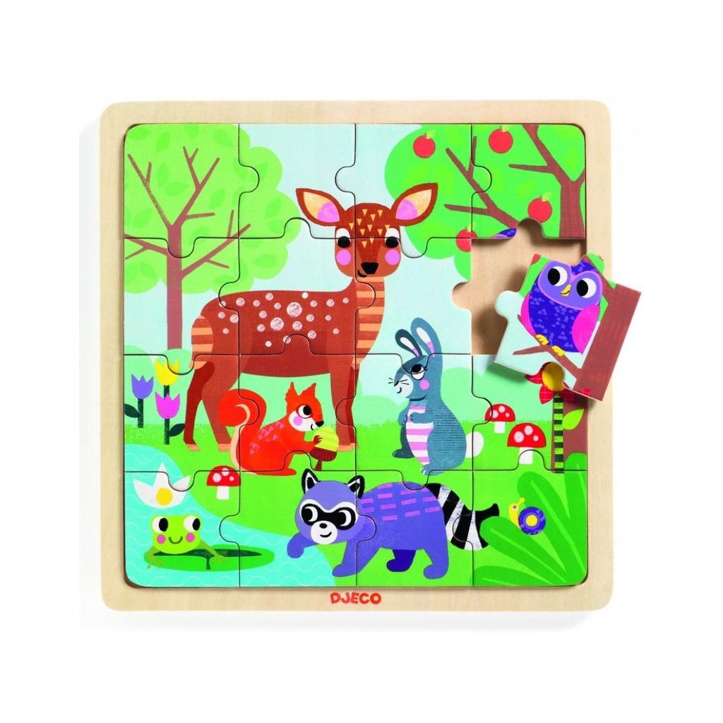 Puzzle lemn animale in padure 16 piese djeco imagine