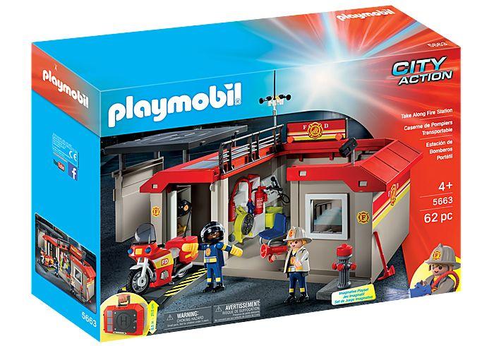 Set mobil statie de pompieri playmobil city action