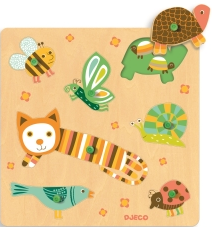 Puzzle cu buton animale domestice djeco imagine