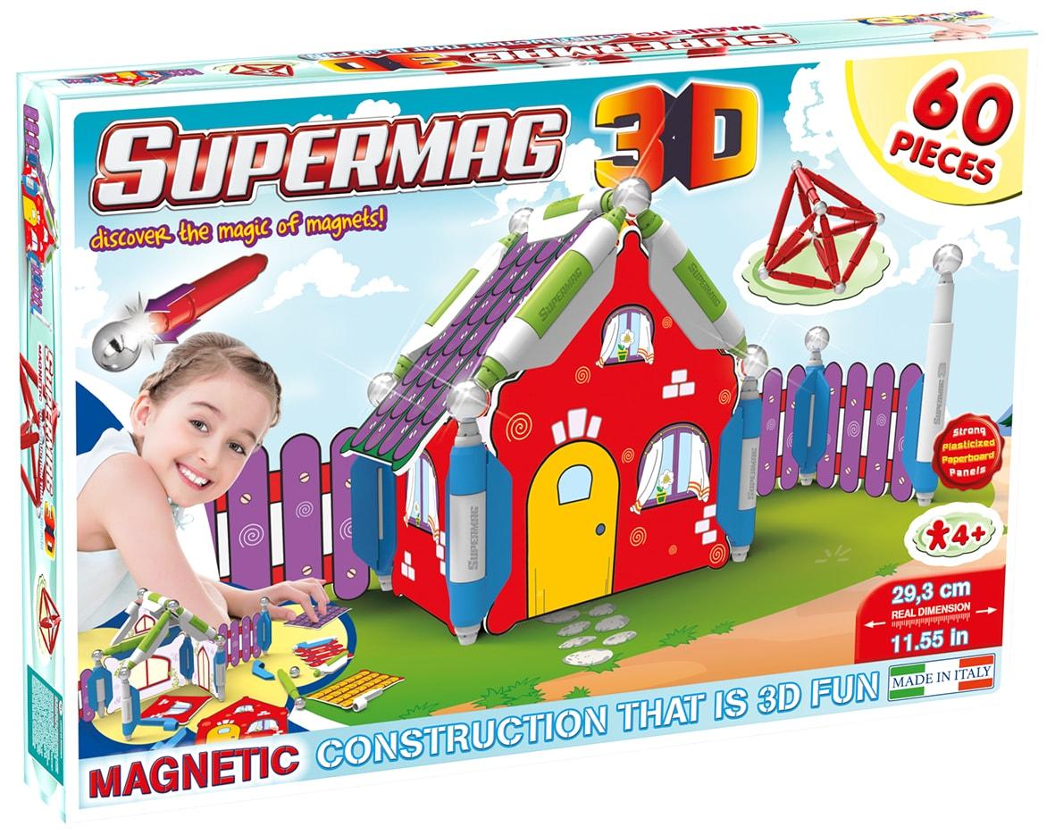 Jucarie cu magnet casuta 60 piese 3d supermag imagine
