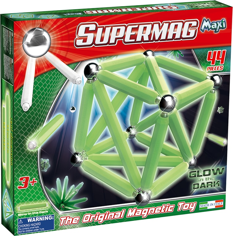 Set constructie magnetic luminos 44 piese maxi glow supermag imagine