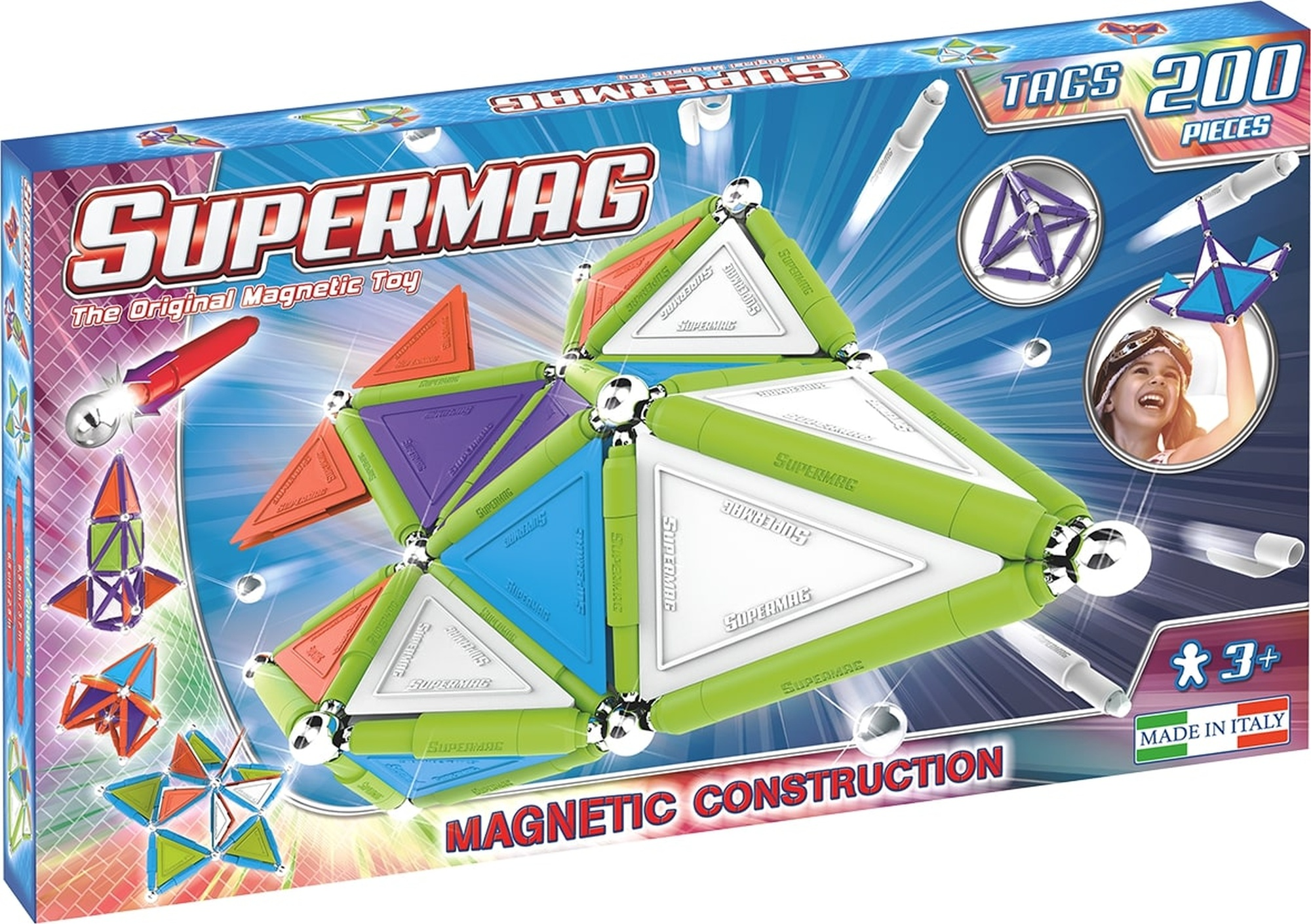 Set constructie magnetic 200 piese tags trendy supermag imagine