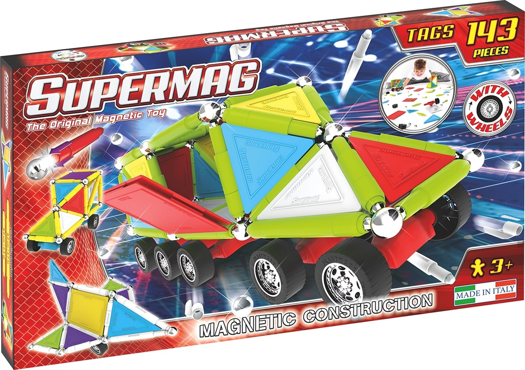 Set constructie magnetic 143 piese tags wheels supermag imagine