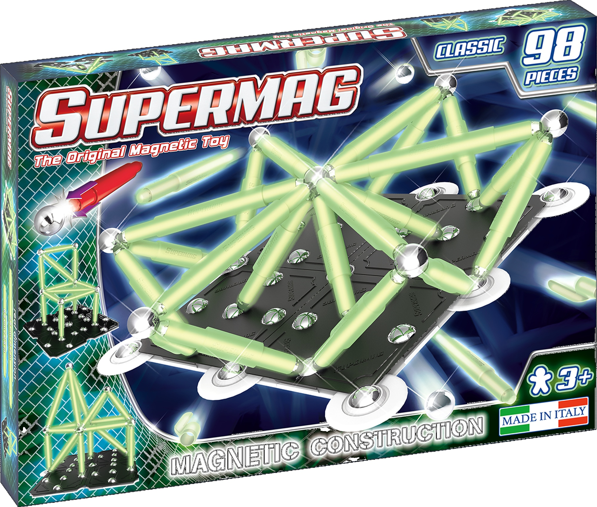 Set constructie magnetic 98 piese classic glow supermag imagine