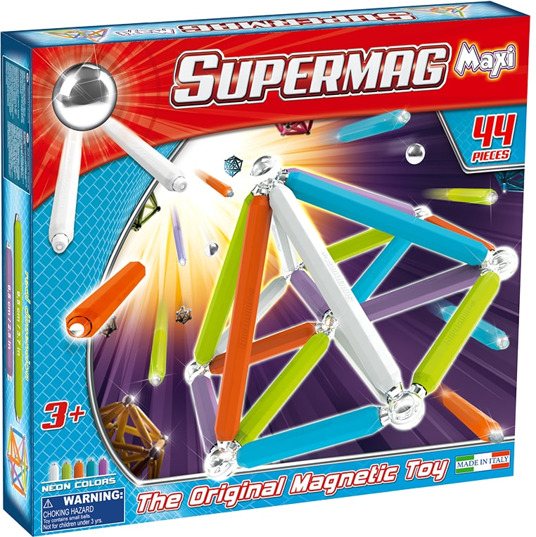 Set constructie magnetic 44 piese maxi neon supermag imagine