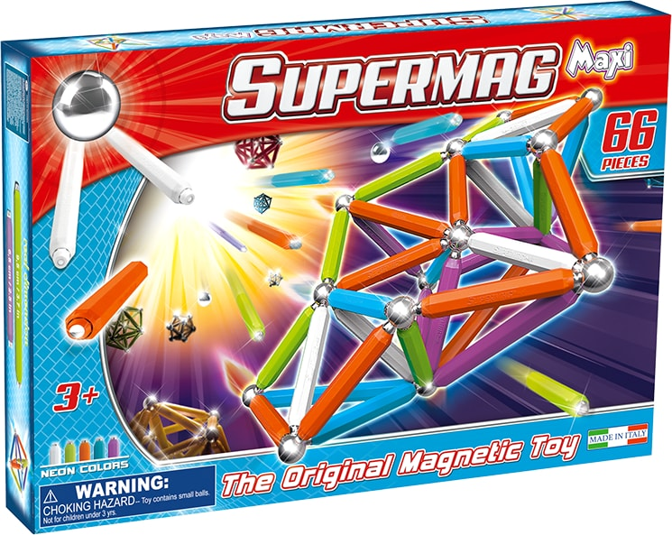 Set constructie magnetic 66 piese maxi neon supermag imagine