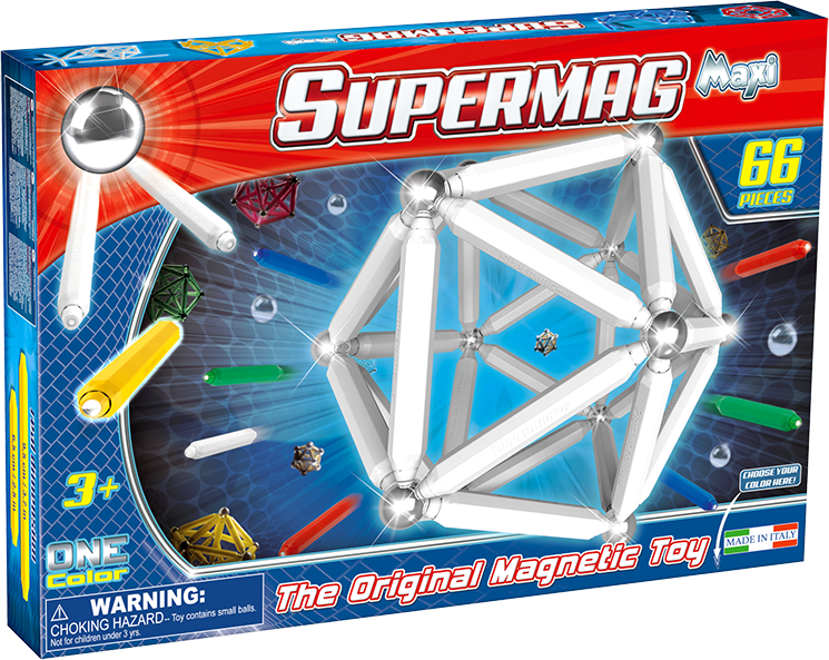 Set constructie magnetic 66 piese maxi supermag imagine