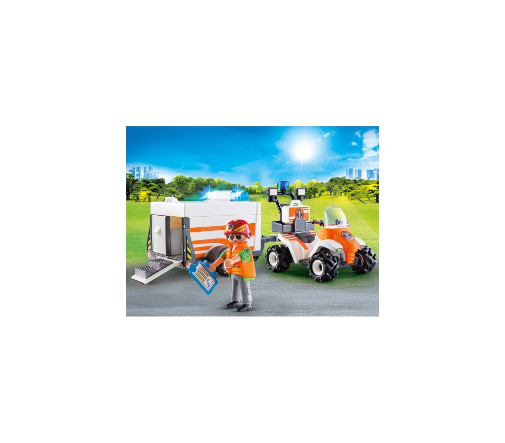 Medic cu atv si remorca playmobil city life - 2