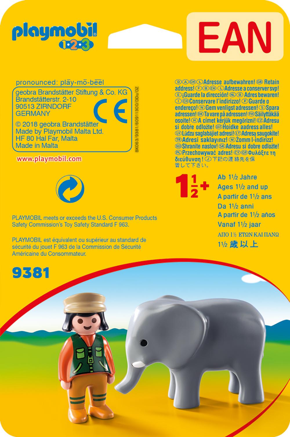 Ingrijitor zoo cu elefant playmobil 1.2.3 - 1