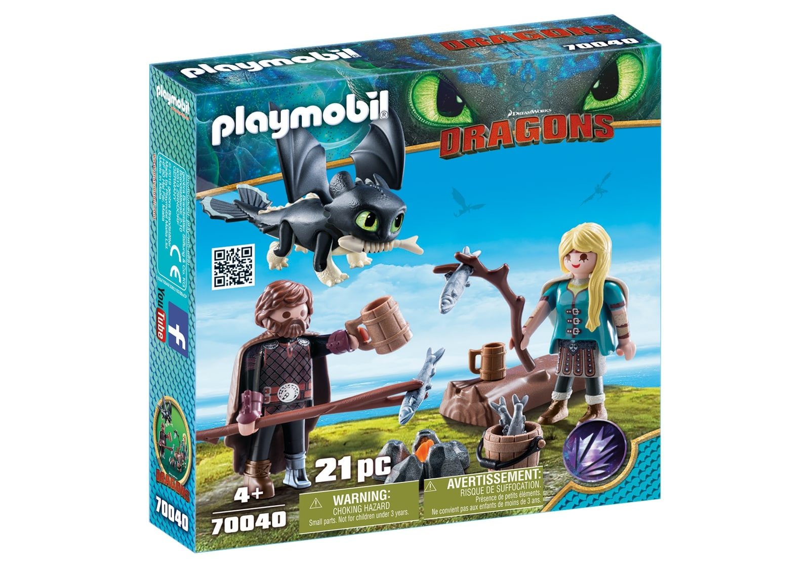 Hiccup, astrid si pui de dragon playmobil dragons