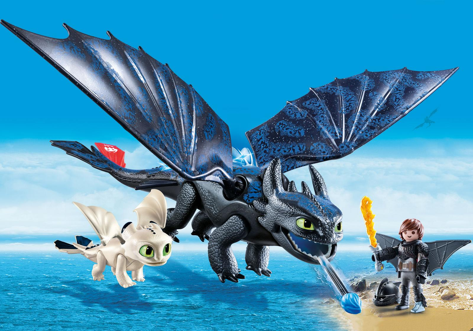 Hiccup, toothless si pui de dragon playmobil dragons - 1