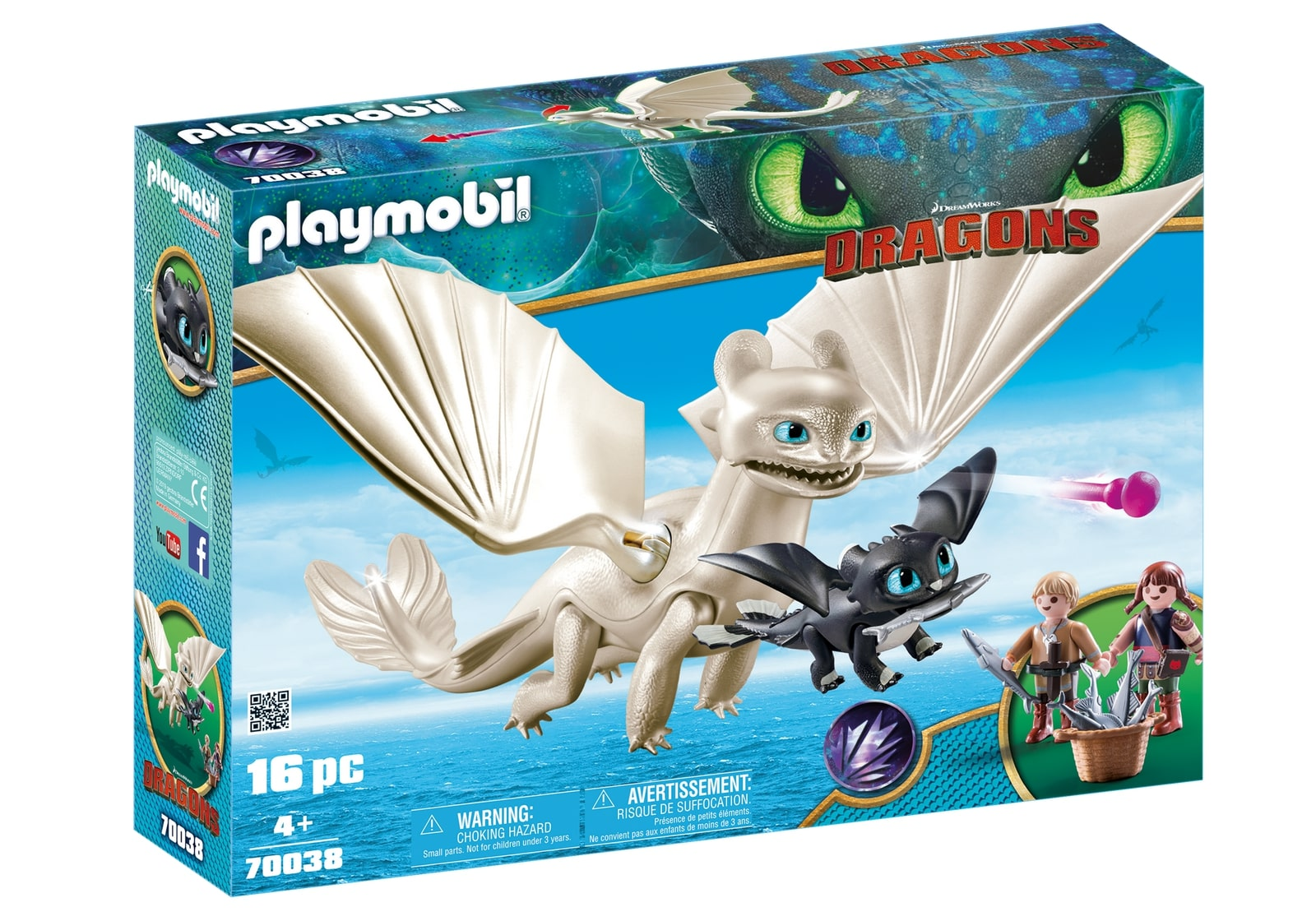 Light fury, pui de dragon si copii playmobil dragons