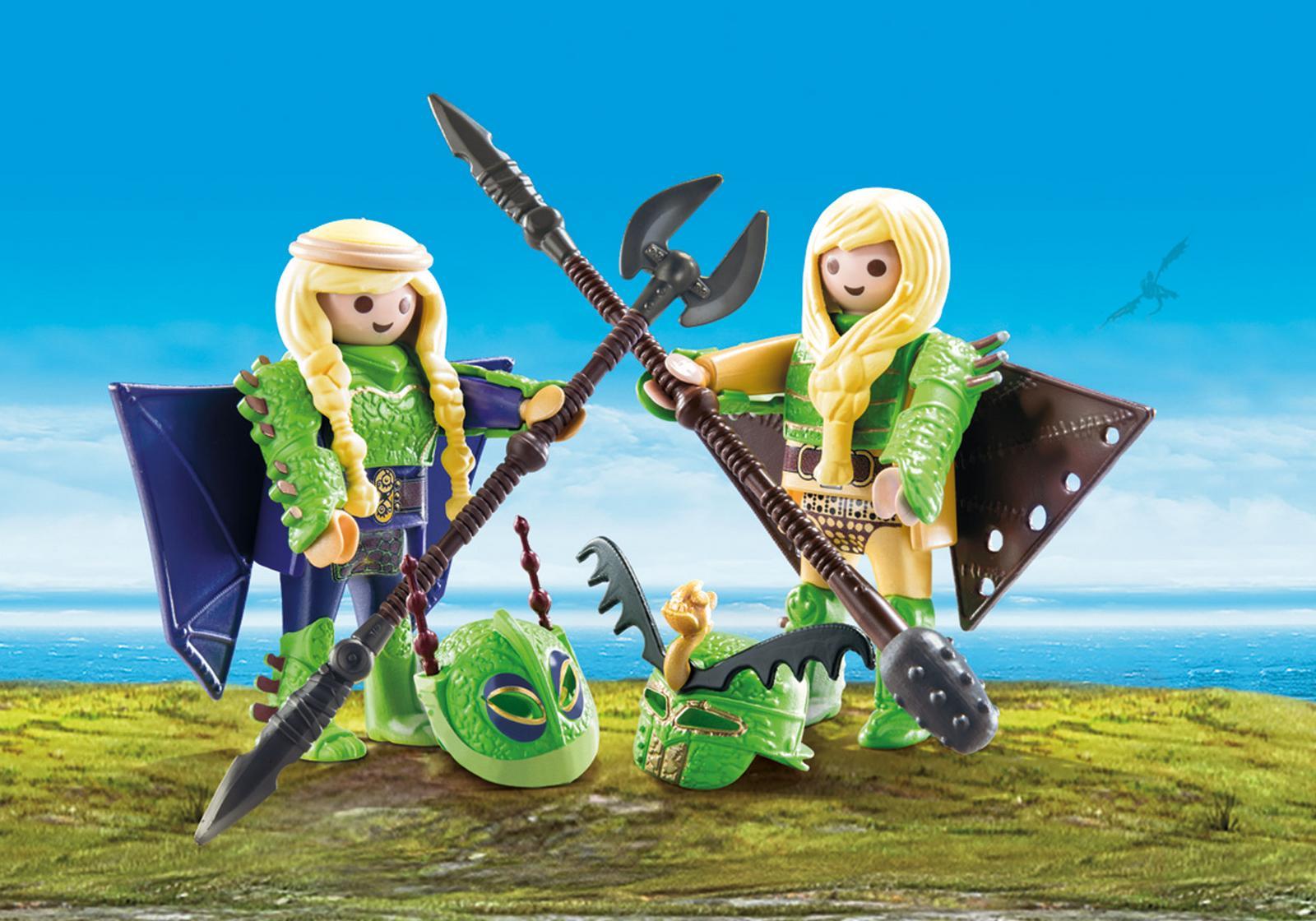 Raffnut si taffnut in costume de zbor playmobil dragons - 1