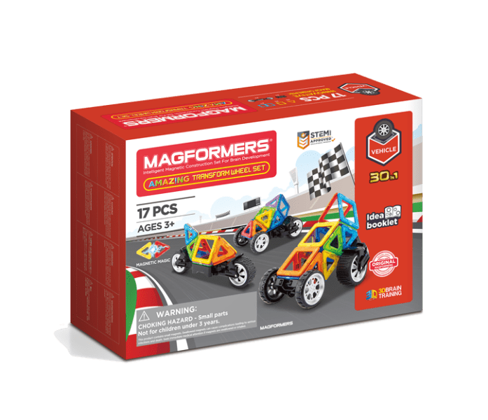 Set constructie magnetic magformers vehicule 17 piese clics toys imagine