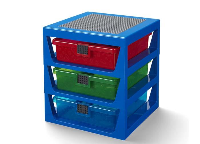 Cutie depozitare lego cu trei sertare albastru imagine