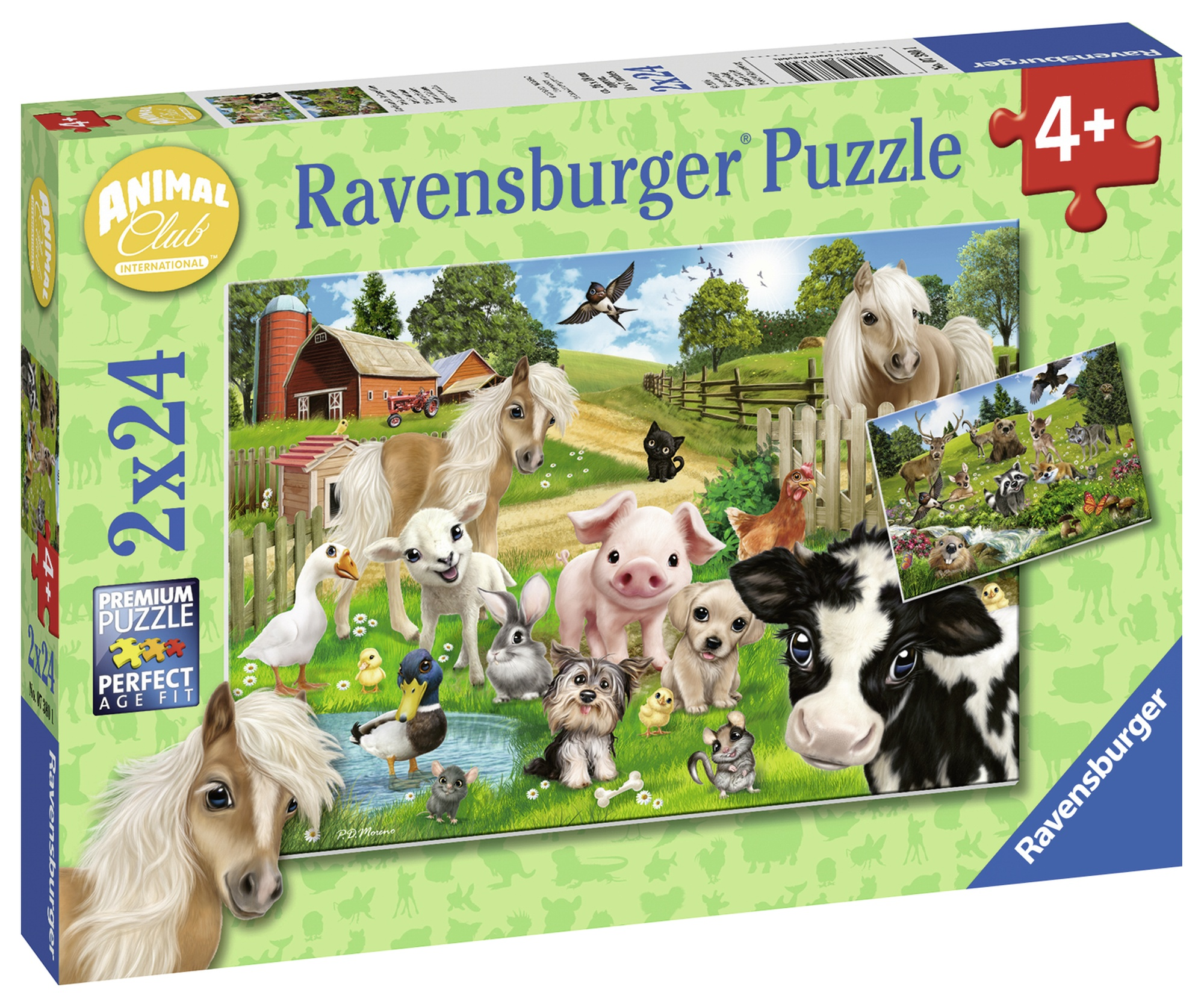 Puzzle ferma animalelor 2x24 piese ravensburger