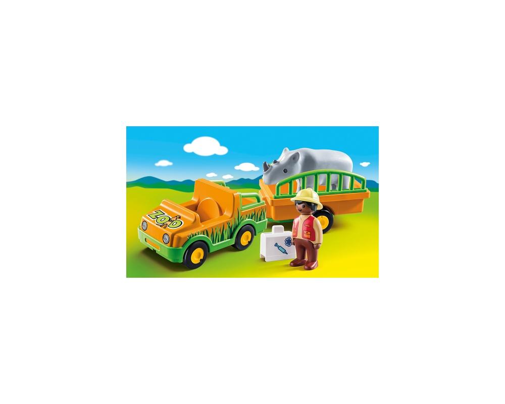 Masina zoo cu rinocer playmobil 1.2.3 - 1