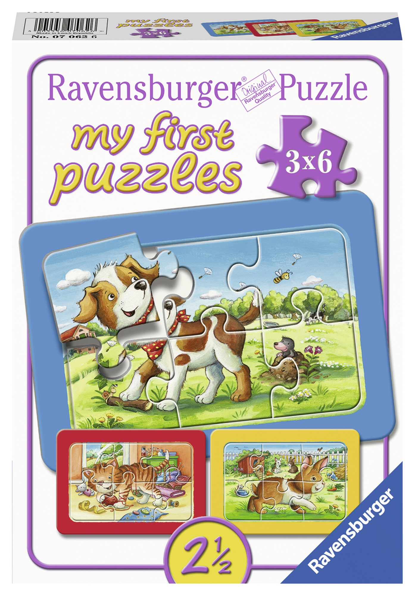 Puzzle animalute 3x6 piese ravensburger