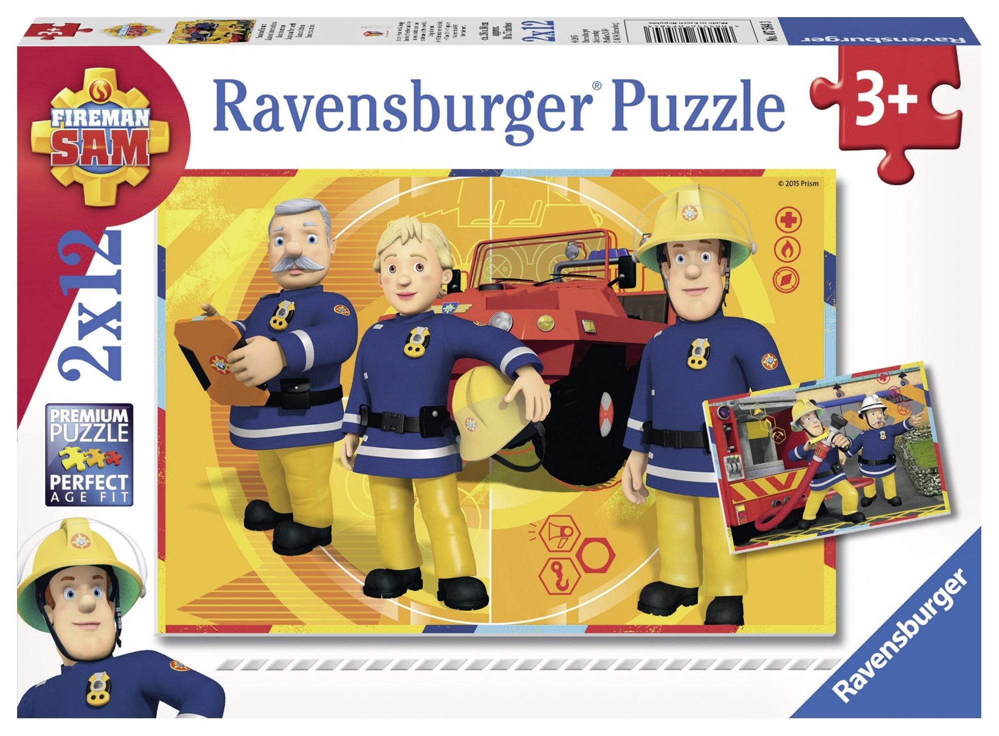 Puzzle pompierul sam 2x12 piese ravensburger