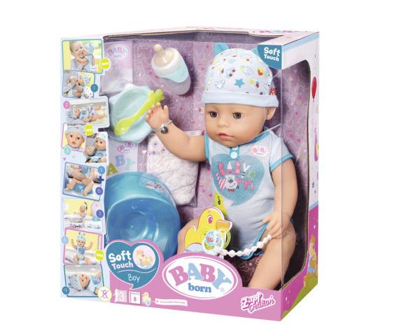 Bebelus baiat interactiv cu corp moale baby born imagine