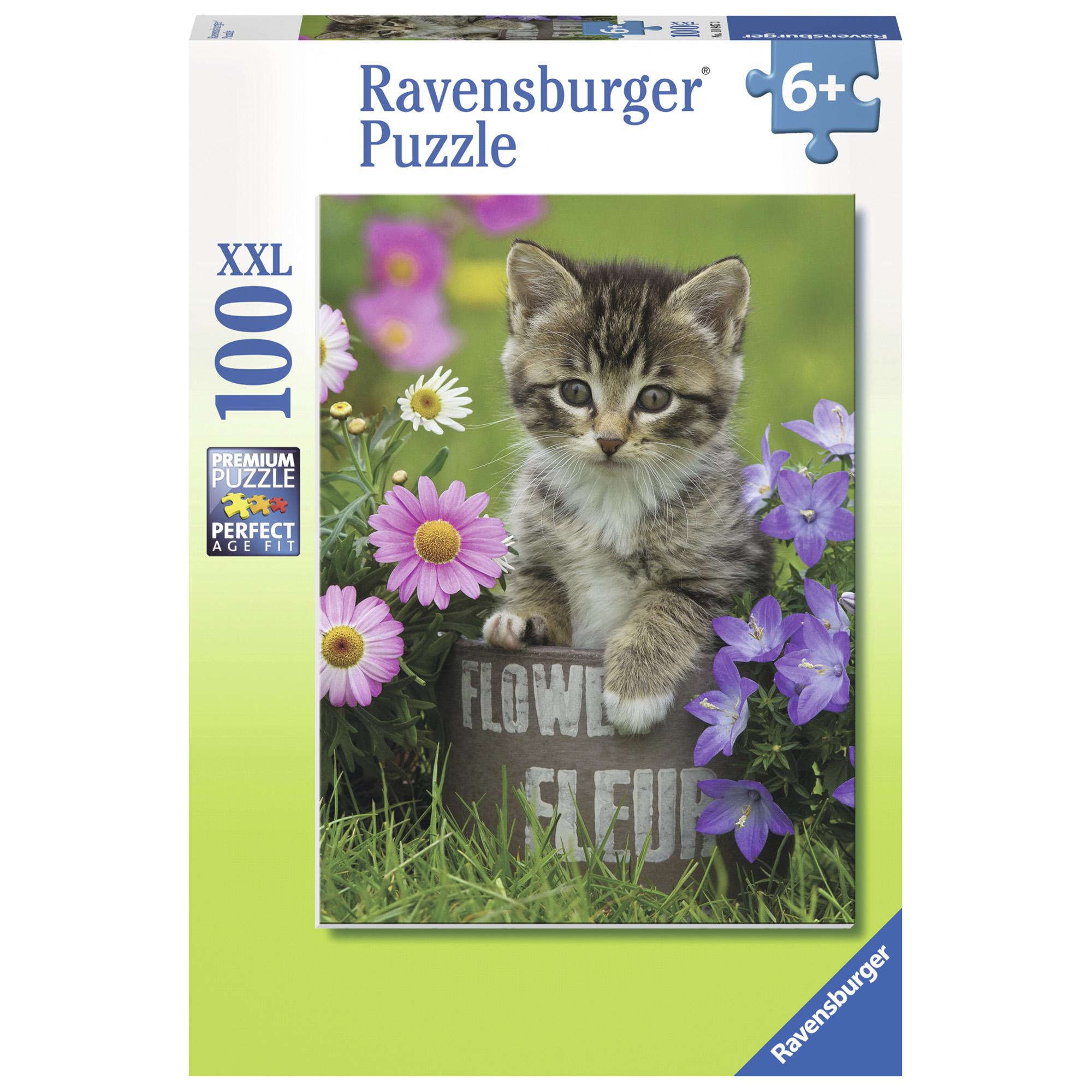 Puzzle pisicuta intre flori 100 piese ravensburger
