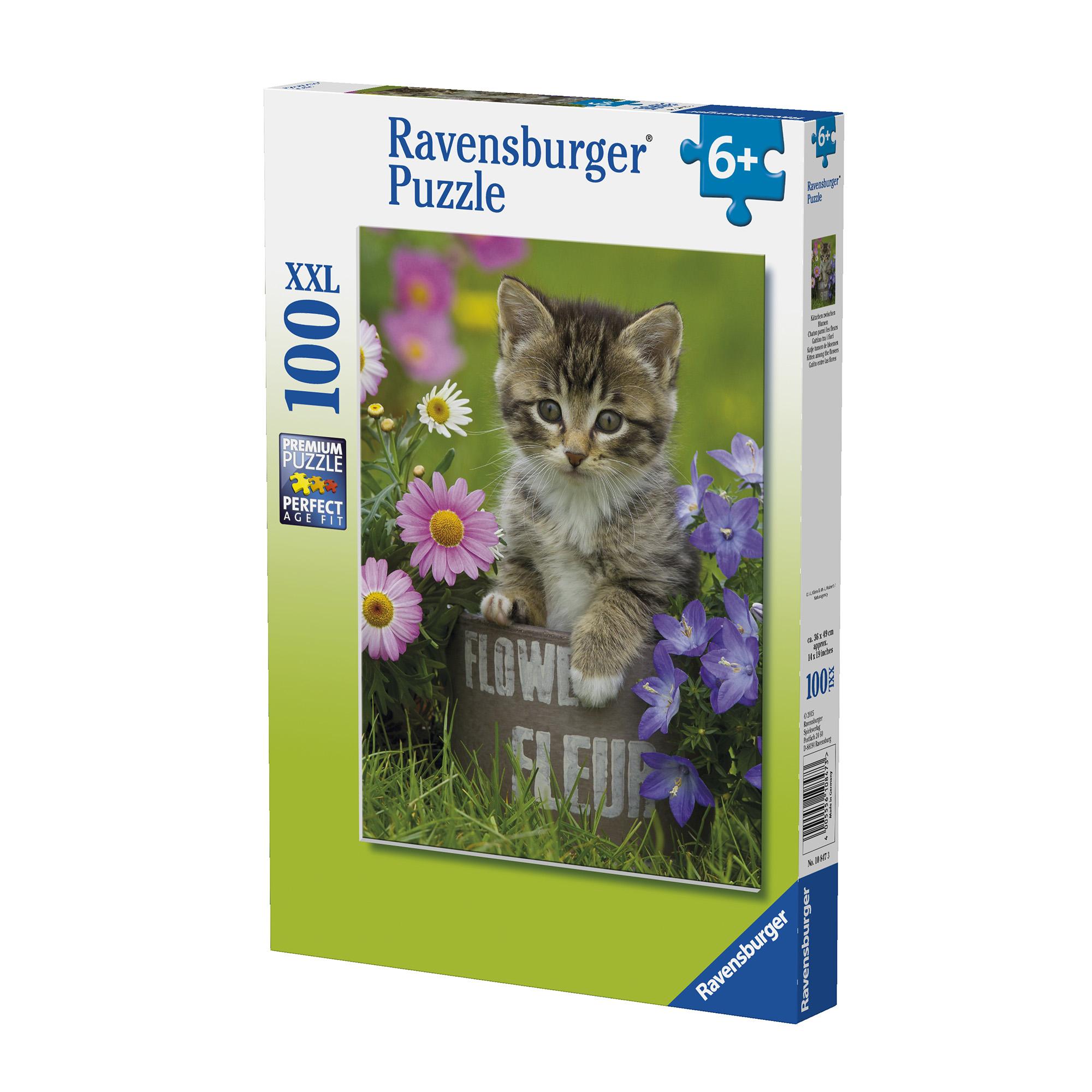 Puzzle pisicuta intre flori 100 piese ravensburger - 1