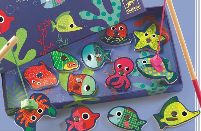 Joc de pescuit magnetic pesti colorati djeco