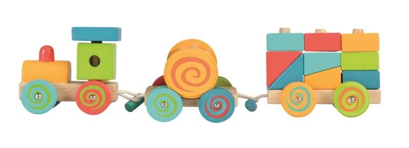 Trenulet cu cuburi lemn egmont toys imagine