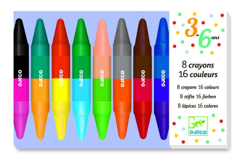 Creioane de colorat duble djeco