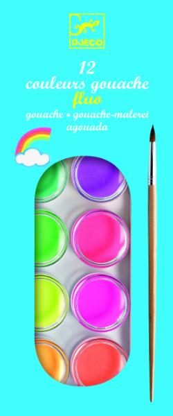 Culori guase neon 12 nuante djeco imagine