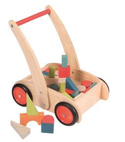 Carucior cu cuburi colorate din lemn imagine