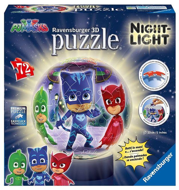 Puzzle 3d luminos eroi in pijamale 72 piese ravensburger imagine