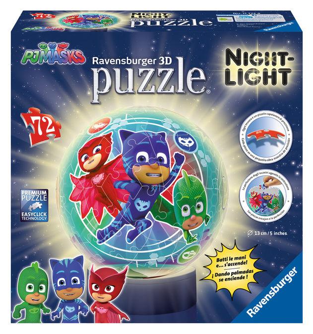 Puzzle 3d eroi in pijamale luminos 72 piese ravensburger imagine