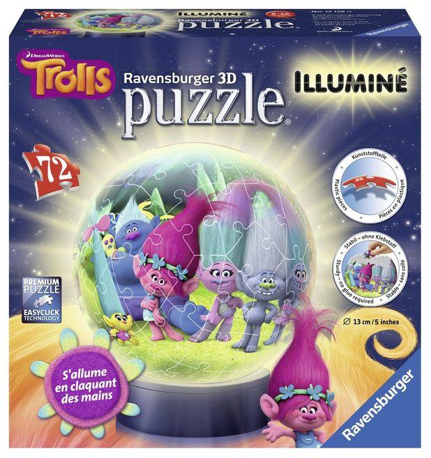 Puzzle 3d luminos trolls 72 piese ravensburger imagine