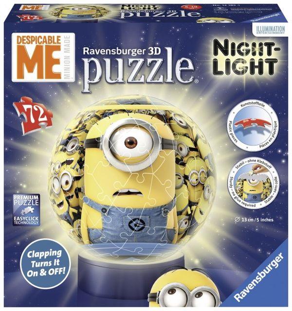 Puzzle 3d minions luminos 72 piese ravensburger imagine