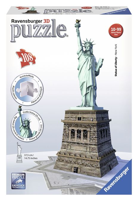 Puzzle 3d statuia libertatii 108 piese ravensburger imagine