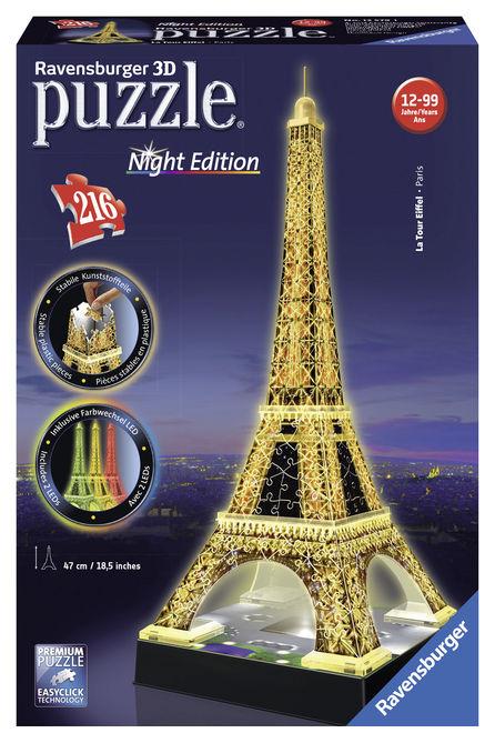 Puzzle 3d turnul eiffel noaptea 216 piese ravensburger imagine