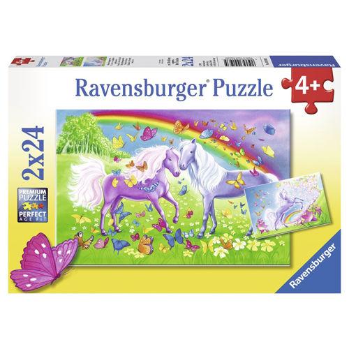 Puzzle cai si curcubeu 2x24 piese ravensburger imagine