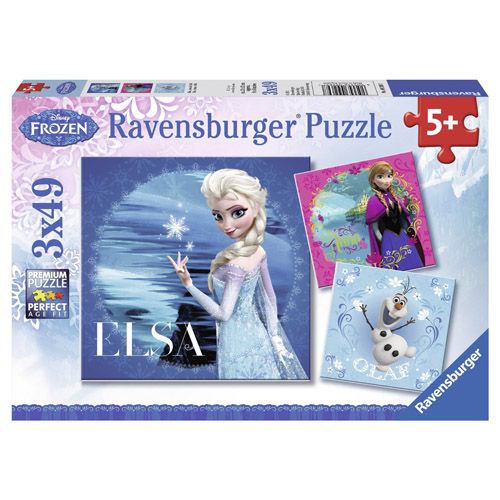 Puzzle frozen elsa, anna si olaf 3x49 piese ravensburger