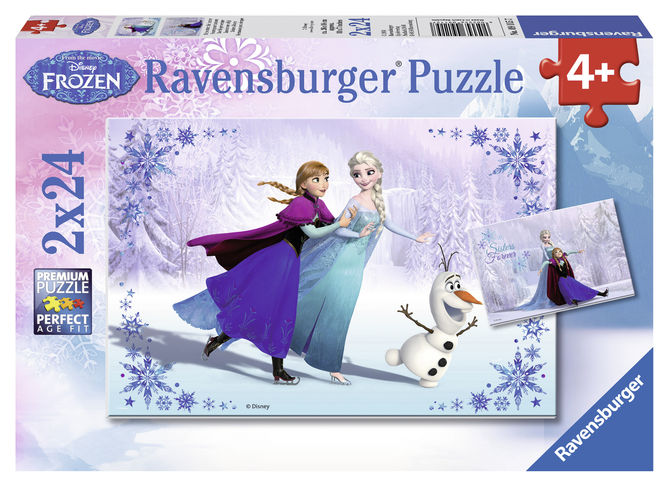 Puzzle frozen fetele surori 2x24 piese ravensburger