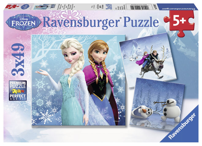 Puzzle frozen fete 3x49 piese ravensburger