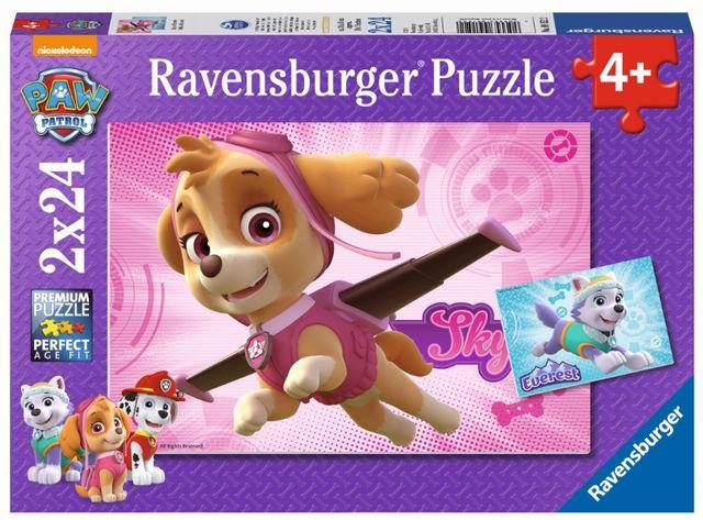 Puzzle patrula catelusilor 2x24 piese fete ravensburger imagine